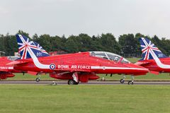 Royal Air Force RAF British Aerospace Hawk T 1 XX311 des Royal Air Force-Flugschauteams die roten Pfeile Stockfotografie