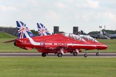 Royal Air Force RAF British Aerospace Hawk T 1 XX311 des Royal Air Force-Flugschauteams die roten Pfeile Lizenzfreie Stockfotografie