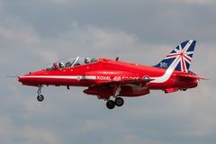 Royal Air Force RAF British Aerospace Hawk T 1 XX244 des Royal Air Force-Flugschauteams die roten Pfeile Stockbilder