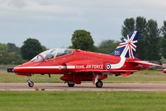Royal Air Force RAF British Aerospace Hawk T 1 XX310 des Royal Air Force-Flugschauteams die roten Pfeile Lizenzfreie Stockbilder