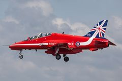Royal Air Force RAF British Aerospace Hawk T 1A XX278 des Royal Air Force-Flugschauteams die roten Pfeile Lizenzfreie Stockfotografie