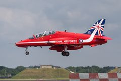 Royal Air Force RAF British Aerospace Hawk T 1 XX311 des Royal Air Force-Flugschauteams die roten Pfeile Stockfoto