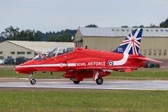 Royal Air Force RAF British Aerospace Hawk T 1 XX310 des Royal Air Force-Flugschauteams die roten Pfeile Lizenzfreie Stockfotografie