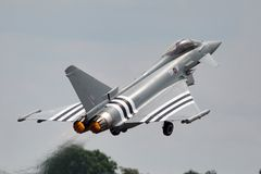 Royal Air Force RAF Eurofighter EF-2000 tyfon FGR4 ZK308 från inget skvadron som 29R baseras på RAF Coningsby Royaltyfri Bild