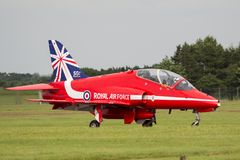 Royal Air Force RAF Hawker Siddeley Hawk T 1A XX177 des Royal Air Force-Flugschauteams die roten Pfeile Stockfotos
