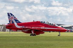 Royal Air Force RAF Hawker Siddeley Hawk T 1A XX177 des Royal Air Force-Flugschauteams die roten Pfeile Lizenzfreies Stockfoto