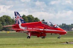 Royal Air Force RAF Hawker Siddeley Hawk T 1A XX219 des Royal Air Force-Flugschauteams die roten Pfeile Lizenzfreie Stockfotos