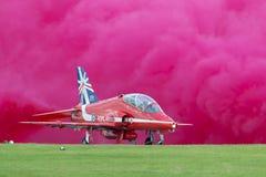 Royal Air Force RAF Hawker Siddeley Hawk T 1A XX219 des Royal Air Force-Flugschauteams die roten Pfeile Stockfoto