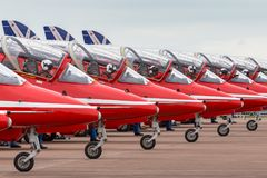 Free Royal Air Force RAF Red Arrows Formation Aerobatic Display Team British Aerospace Hawk T.1 Jet Trainer Aircraft Prepare For Take Stock Photos - 121459303
