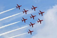 Red Arrows Apollo Formation overhead Royalty Free Stock Photo