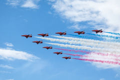 Royal Air Force Red arrows - air show In Estonia Tallinn 2014 ye Royalty Free Stock Photography