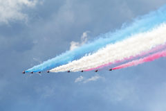 Royal Air Force Red arrows - air show In Estonia Tallinn 2014 ye Royalty Free Stock Image
