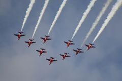 Royal Air Force Red Arrows Air Show Royalty Free Stock Photography