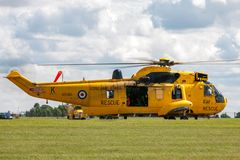 Royal Air Force Westland Sea King HAR3 search and rescue helicopter XZ595 from 202 squadron based at RAF Valley. RAF Waddington, Lincolnshire, UK - July 5, 2014 royalty free stock images