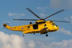 Royal Air Force Westland Sea King HAR3 search and rescue helicopter XZ595 from 202 squadron based at RAF Valley. RAF Waddington, Lincolnshire, UK - July 5, 2014 royalty free stock photo