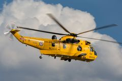 Royal Air Force Westland Sea King HAR3 search and rescue helicopter XZ595 from 202 squadron based at RAF Valley. RAF Waddington, Lincolnshire, UK - July 5, 2014 stock images