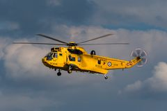 Royal Air Force Westland Sea King HAR3 search and rescue helicopter XZ595 from 202 squadron based at RAF Valley. RAF Waddington, Lincolnshire, UK - July 5, 2014 royalty free stock photos