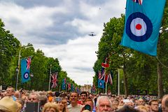 RAF 100 year celebration. The Royal Air Force 100 year celebration in the Mall London near Buckingham palace. Here the crowds of people gathered for the Stock Images