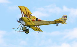 Royal Aircraft Factory BE2c. Historic WWI Royal Aircraft Factory BE2c biplane in flight on June 8th 2014.  Britain's first ever military airplane Stock Image