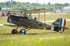 Royal Aircraft Factory S.E.5 on a grass field Royalty Free Stock Image