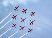 Royal Airforce Red Arrows Display Team Stock Photo