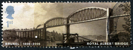 Royal Albert Bridge UK Postage Stamp. GREAT BRITAIN - CIRCA 2006: A used postage stamp from the UK, depicting an image of the Royal Albert Bridge, designed by royalty free stock image