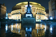 Royal Albert Hall. At night .The  reflection on the wet floor stock photo
