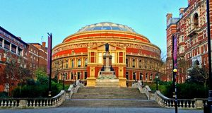 Royal Albert Hall London. A photograph of the Royal Albert Hall in South Kensington, London, England. A world class music venue used each year to celebrate the Stock Image