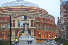 Royal Albert Hall. LONDON, UK - MARCH 16: Pedestrians on the steps of South porch at the Royal Albert Hall. March 16, 2015 in London. The concert hall is home to Royalty Free Stock Photo