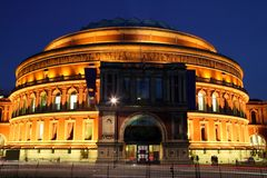 Royal Albert Hall at Night. Night shot of the Royal Albert Hall. It is the leading classical music venue in The UK and is the home of the Proms Royalty Free Stock Image