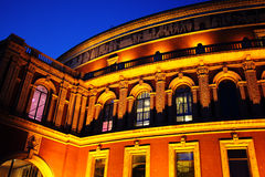 The Royal Albert Hall at night. Night shot of the Royal Albert Hall, built 1867-71 to commemorate the death of Queen Victoria's beloved consort Prince Albert. It Royalty Free Stock Image