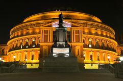 Royal Albert Hall at Night. The Royal Albert Hall, built 1867-71 was built to commemorate the death of Queen Victoria's belove consort Prince Albert and is the Stock Photos
