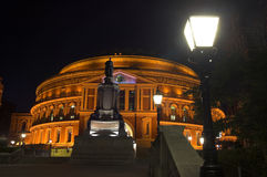 Royal Albert Hall at night. The Royal Albert Hall, built 1867-71 was built to commemorate the death of Queen Victoria's belove consort Prince Albert and is the Stock Image