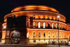Royal Albert Hall at night. London, UK, August 9, 2007 : Royal Albert Hall at night in Kensington which is a leading classical music venue and the home of the Stock Photography
