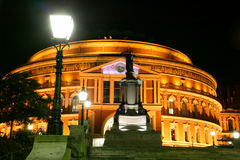 Royal Albert Hall at night. Night shot of the Royal Albert Hall, Kensington London England UK, built 1867-71 to commemorate the death of Queen Victoria's beloved Stock Images