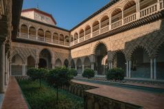 The Courtyard of the Maidens in the Alcazar of Seville, Spain stock images