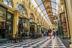 Royal arcade in Melbourne 1. The Royal Arcade is an historic shopping arcade in the central business district of Melbourne, Victoria, Australia Stock Photos