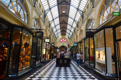 Royal Arcade - Melbourne. MELBOURNE - APR 13 2014:Visitors at the Royal Arcade in Melbourne, Australia.It's a significant Victorian era arcade shopping passage Royalty Free Stock Photography