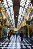 Royal Arcade - Melbourne. MELBOURNE - APR 13 2014:Visitors at the Royal Arcade in Melbourne, Australia.It's a significant Victorian era arcade shopping passage Stock Image