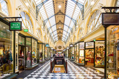 Royal Arcade Melbourne. Melbourne, Australia - March 22, 2016: Melbourne's famous Royal Arcade shopping centre during the day with shoppers Stock Photos