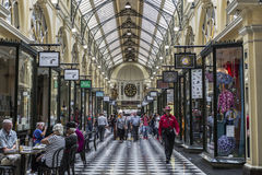 Royal Arcade - Melbourne. Visitors at the Royal Arcade in Melbourne, Australia.It`s a significant Victorian era arcade shopping passage and one of the most Stock Images