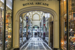 Royal Arcade - Melbourne. Visitors at the Royal Arcade in Melbourne, Australia.It`s a significant Victorian era arcade shopping passage and one of the most Royalty Free Stock Image