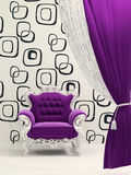 Royal armchair with curtain isolated on ornament. Wallpaper Stock Illustration