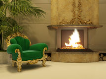 Royal armchair by fireplace in luxury interior. Luxurious apartment. hall. living room. Old Armchair with golden frame Stock Photography