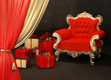 Royal armchair with gift wrapping Royalty Free Stock Photography