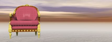 Royal armchair in nature - 3D render Royalty Free Stock Image