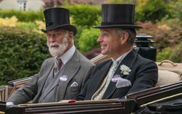 Prince Michael of Kent and Lord de Mauley en route to Royal Ascot. Royal Ascot Carriage Procession 2018 royalty free stock photography