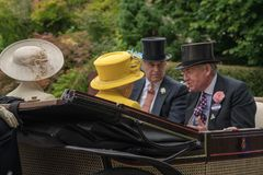 Queen, Princess Anne and Prince Andrew en route to Royal Ascot 2. Royal Ascot Carriage Procession in 2018 stock photo