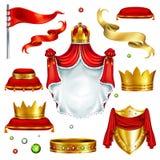 Royal attributes and symbols realistic vector set royalty free illustration