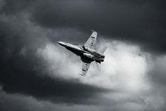 Jet Fighther. A jet fighther made a pass showing its undercarriage ; air intake Royalty Free Stock Images